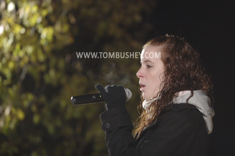 Pine Bush, NY -Lauren Brunetti performs during the Pine Bush Festival of Lights on Main Street on the evening of Dec. 1, 2007.