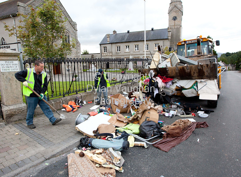 15/8/2009.The mess left in Borris County Carlow on Sunday morning after the Borris Horse Fair on Saturday..Picture Dylan Vaughan.
