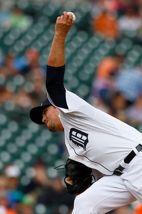 Jun 14, 2015; Detroit, MI, USA; Detroit Tigers relief pitcher Blaine Hardy (65) pitches in the sixth inning against the Cleveland Indians at Comerica Park. Mandatory Credit: Rick Osentoski-USA TODAY Sports