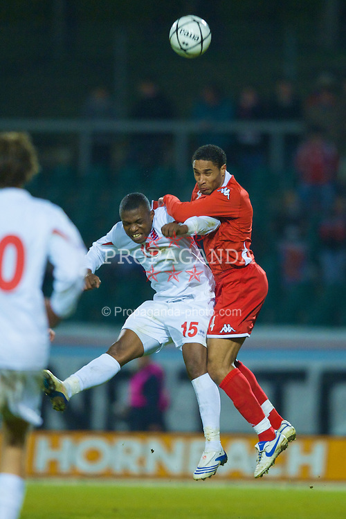LUXEMBOURG CITY, LUXEMBOURG - Wednesday, March 26, 2008: Wales' Ashley Williams and Luxembourg's Joel Kitenge during the International Friendly match at the Stade Josy Barthel. (Photo by David Rawcliffe/Propaganda)