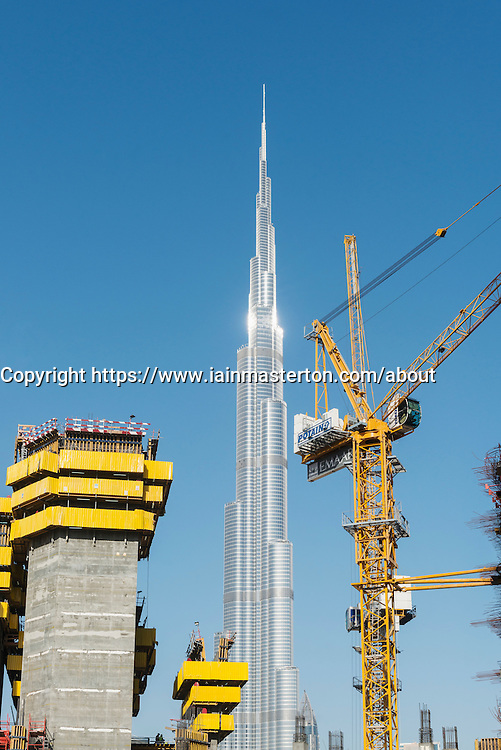 construction site of high-rise  apartment skyscraper tower in Dubai United Arab Emirates