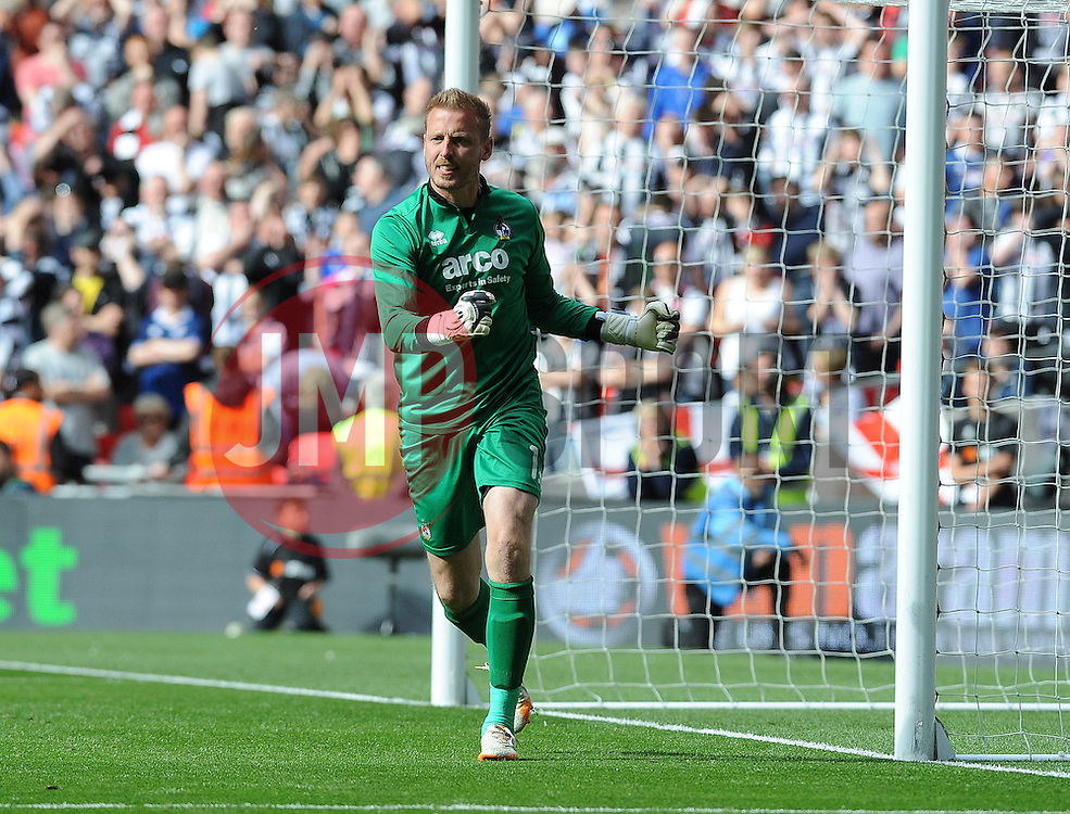 Bristol Rovers' Steve Mildenhall after Grimsmby's missed penalty - Photo mandatory by-line: Neil Brookman/JMP - Mobile: 07966 386802 - 17/05/2015 - SPORT - football - London - Wembley Stadium - Bristol Rovers v Grimsby Town - Vanarama Conference Football