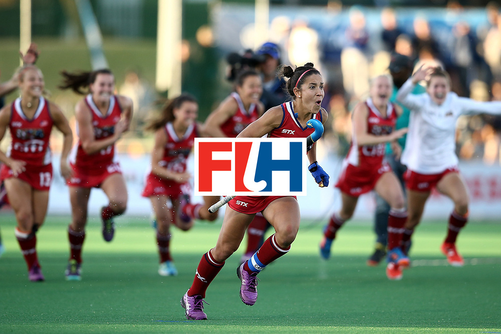 JOHANNESBURG, SOUTH AFRICA - JULY 23:  Melissa Gonzalez of United States of America celebrates victory in the penalty shoot out during day 9 of the FIH Hockey World League Women's Semi Finals final match between United States of America and Germany at Wits University on July 23, 2017 in Johannesburg, South Africa.  (Photo by Jan Kruger/Getty Images for FIH)