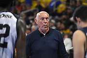 Pepperdine Waves assistant coach Marv Dunphy watches from the bench against the Princeton Tigers during an NCAA Championships opening round match, Wednesday, April 30, 2019, in Long Beach, Calif. Pepperdine defeated Princeton 25-23, 19-25, 25-16, 22-25, 15-8.