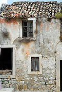 Detail of abandoned house, village of Ston, Croatia