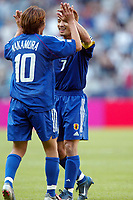 FOOTBALL - CONFEDERATIONS CUP 2003 - GROUP A - 1ST ROUND - NEW ZEALAND v JAPAN- 030618 - JOY HIDETOSHI NAKATA / SHUNSUKE NAKAMURA (JAP) - PHOTO STEPHANE MANTEY /DIGITALSPORT