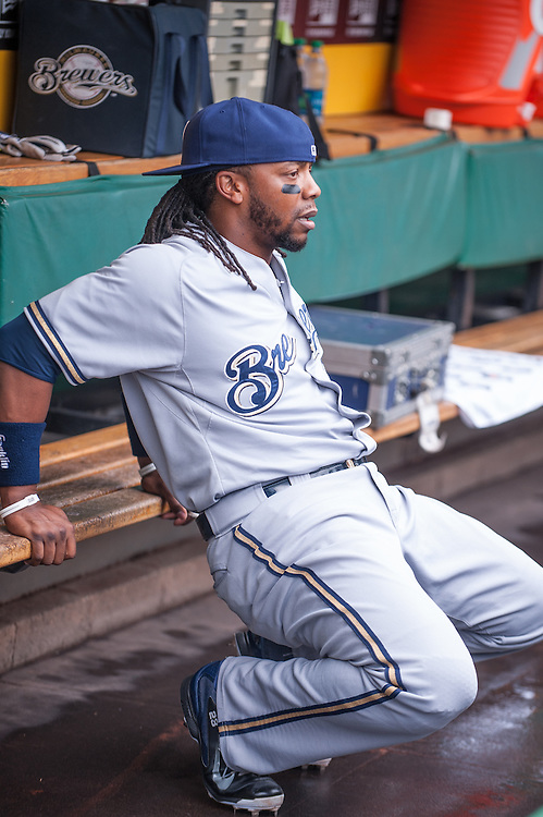 PITTSBURGH, PA - JUNE 08: Rickie Weeks #23 of the Milwaukee Brewers looks on during the game against the Pittsburgh Pirates at PNC Park on June 8, 2014 in Pittsburgh, Pennsylvania. (Photo by Rob Tringali) *** Local Caption *** Rickie Weeks