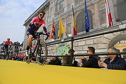 Taylor Phinney (USA) EF Education First at the team presentation in Antwerp before the start of the 2019 Ronde Van Vlaanderen 270km from Antwerp to Oudenaarde, Belgium. 7th April 2019.<br /> Picture: Eoin Clarke | Cyclefile<br /> <br /> All photos usage must carry mandatory copyright credit (© Cyclefile | Eoin Clarke)