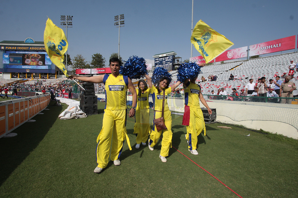 Cheers girls of Chennai Super Kings during match 9 of the Indian Premier League ( IPL ) Season 4 between the Kings XI Punjab and the Chennai Super Kings held at the PCA stadium in Mohali, Chandigarh, India on the 13th April 2011..Photo by Anil Dayal/BCCI/SPORTZPICS