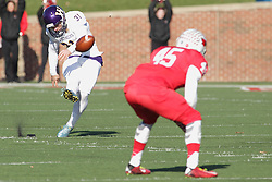 05 December 2015:  Luke Otto(31) a UHigh grad performs kick offs for the Leathernecks. NCAA FCS Round 2 Football Playoff game between Western Illinois Leathernecks and Illinois State Redbirds at Hancock Stadium in Normal IL (Photo by Alan Look)