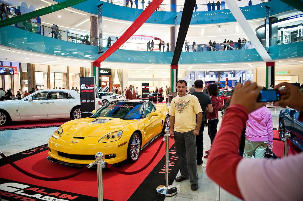 Cars on display at Dubai Mall, Dubai, UAE on Friday, February 12, 2010. Archive of images of Dubai by Dubai photographer Siddharth Siva