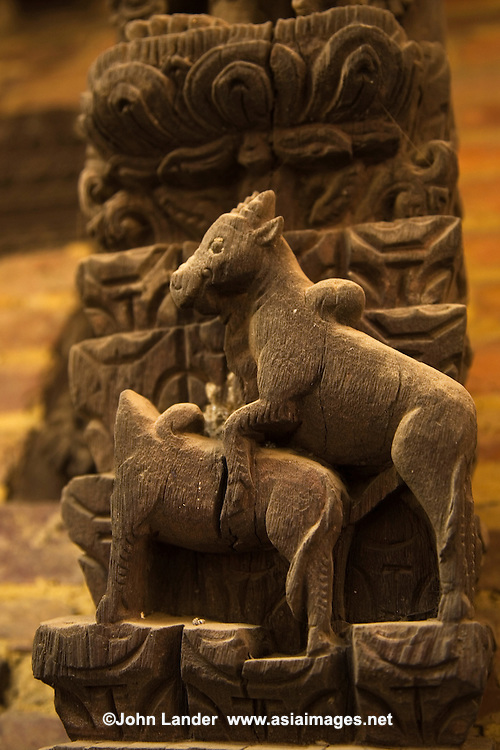 Kama Sutra animals, including these donkeys, decorate the struts of the Shiva Parvati Temple, just outside Durbar Square in Bhaktapur. Other animals include humans and elephants going at it.