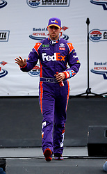 September 30, 2018 - Charlotte, NC, U.S. - CHARLOTTE, NC - SEPTEMBER 30: #11: Denny Hamlin, Joe Gibbs Racing, Toyota Camry FedEx Freight during the running of the Inagural Bank of America ROVAL 400 on Sunday September 30, 2018 at Charlotte Motor Speedway in Concord North Carolina  (Photo by Jeff Robinson/Icon Sportswire) (Credit Image: © Jeff Robinson/Icon SMI via ZUMA Press)