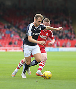 Dundees Greg Stewart goes past Aberdeen&rsquo;s Jonathan Hayes - Aberdeen v Dundee at Pittodrie<br /> - Ladbrokes Premiership<br /> <br />  - &copy; David Young - www.davidyoungphoto.co.uk - email: davidyoungphoto@gmail.com