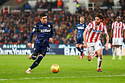Leeds United midfielder Pablo Hernandez (19) in action  during the EFL Sky Bet Championship match between Stoke City and Leeds United at the Bet365 Stadium, Stoke-on-Trent, England on 19 January 2019.