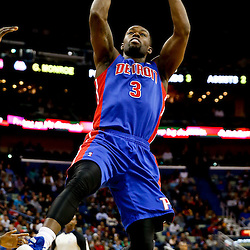 Dec 11, 2013; New Orleans, LA, USA; Detroit Pistons shooting guard Rodney Stuckey (3) shoots against the New Orleans Pelicans during the second half at New Orleans Arena. The Pelicans defeated the Pistons 11-106 in overtime. Mandatory Credit: Derick E. Hingle-USA TODAY Sports