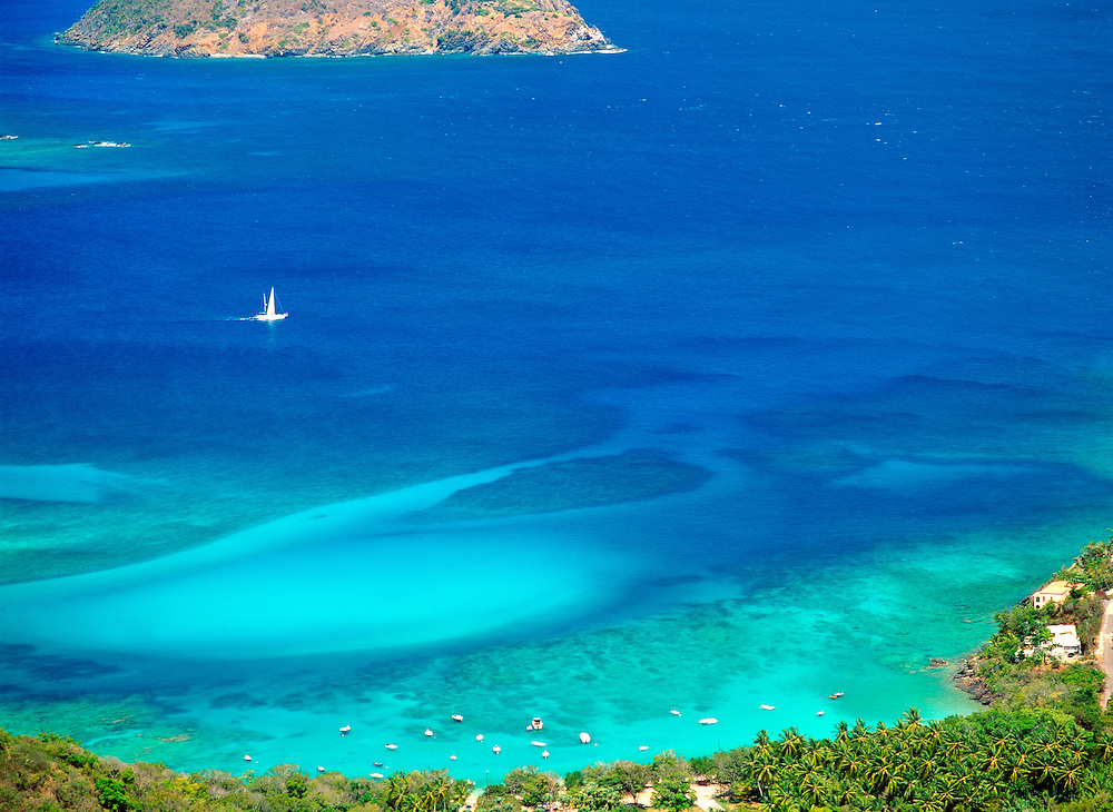 U.S. Virgin Islands, Caribbean. North over the clear blue waters of Hull Bay on the island of St. Thomas
