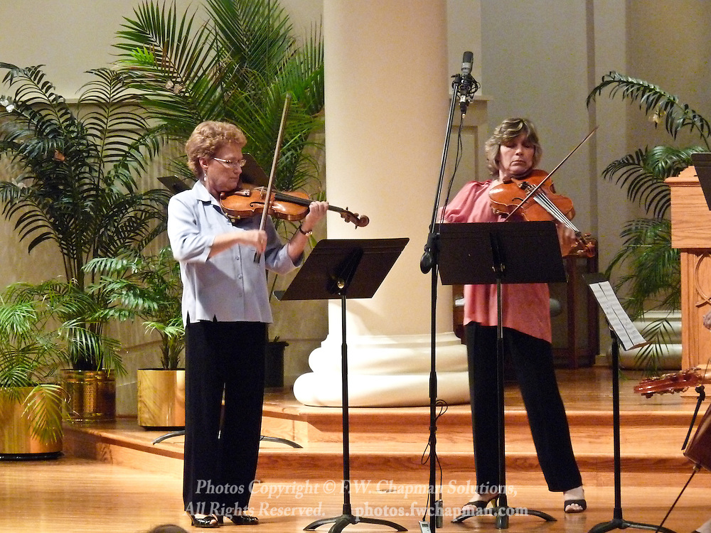 Valley Vivaldi players Rebecca Brown, violin, and Agnès Maurer, viola,  perform in a Sunday evening concert starting at 7:30 PM on July 19, 2009 at Wesley Church in Bethlehem, Pennsylvania, United States.