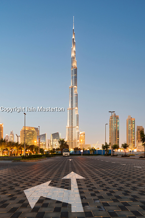 Evening view of Burj Khalifa tower world's tallest skyscraper in Dubai United Arab Emirates UAE