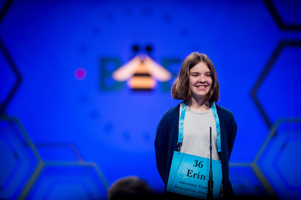 Erin Howard, 12, from Huntsville, Ala., participates in the finals of the 2017 Scripps National Spelling Bee on Thursday, June 1, 2017 at the Gaylord National Resort and Convention Center at National Harbor in Oxon Hill, Md.      Photo by Pete Marovich/UPI