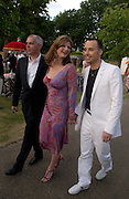 Neil Tennant, Suzannah Constantine and David Furnish, The  Summer party, hosted by the Serpentine Gallery and Robert Cavalli, 16 June 2004. 16 June 2004. SUPPLIED FOR ONE-TIME USE ONLY> DO NOT ARCHIVE. © Copyright Photograph by Dafydd Jones 66 Stockwell Park Rd. London SW9 0DA Tel 020 7733 0108 www.dafjones.com