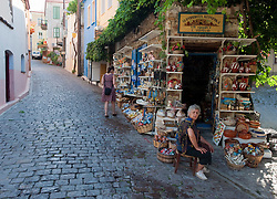 Tourist shop on streets of hill town of Agiassos on Lesvos Island in Greece