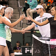 March 7, 2015, Indian Wells, California:<br /> John McEnroe and CoCo Vandeweghe shake hands with Andy Roddick and Madison Keys during the McEnroe Challenge for Charity presented by Masimo in Stadium 2 at the Indian Wells Tennis Garden in Indian Wells, California Saturday, March 7, 2015.<br /> (Photo by Billie Weiss/BNP Paribas Open)