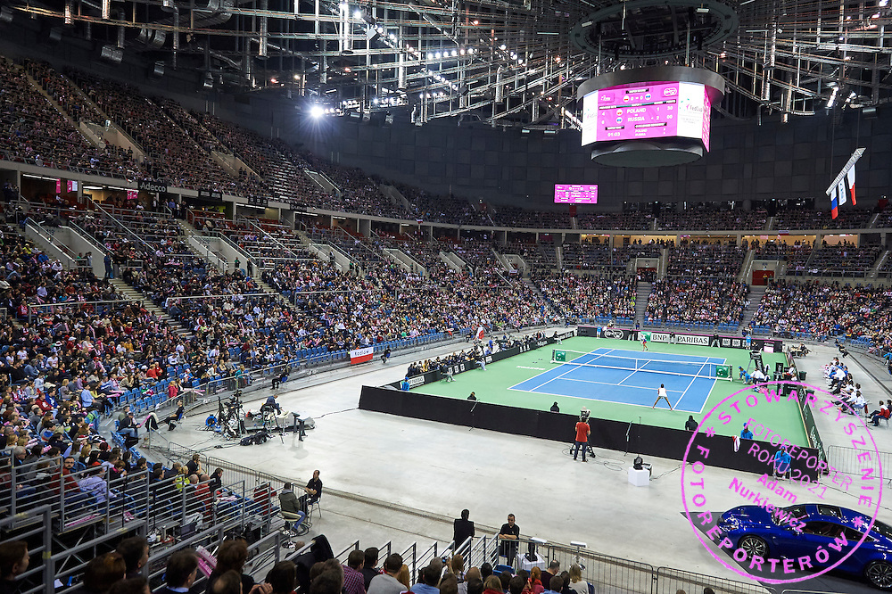 Advertise of Lexus and Adecco and City Krakow and BNP Paribas ITF during First Day of the Fed Cup / World Group 1st round tennis match between Poland and Russia at Tauron Krakow Arena on February 7, 2015 in Cracow, Poland.<br /> <br /> Poland, Cracow, February 7, 2015<br /> <br /> Picture also available in RAW (NEF) or TIFF format on special request.<br /> <br /> For editorial use only. Any commercial or promotional use requires permission.<br /> <br /> Adam Nurkiewicz declares that he has no rights to the image of people at the photographs of his authorship.<br /> <br /> Mandatory credit:<br /> Photo by &copy; Adam Nurkiewicz / Mediasport