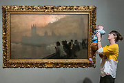 Westminster 1878 by Giouseppe de Nittis - The EY Exhibition: Impressionists in London, French Artists in Exile (1870-1904) at Tate Britain. It brings together over 100 works by Impressionist artists in the first large-scale exhibition to chart the stories of French artists who sought refuge in Britain during the Franco-Prussian War. The exhibition runs from 2 November 2017 – 29 April 2018. London, UK 30 Oct 2017.