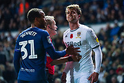 Leeds United forward Patrick Bamford (9) reacts during the EFL Sky Bet Championship match between Leeds United and Blackburn Rovers at Elland Road, Leeds, England on 9 November 2019.