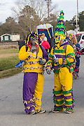 Traditional Cajun Mardi Gras costumed revelers during the Courir de Mardi Gras chicken run on Fat Tuesday February 17, 2015 in Eunice, Louisiana. Cajun Mardi Gras involves costumed revelers competing to catch a live chicken as they move from house to house throughout the rural community.