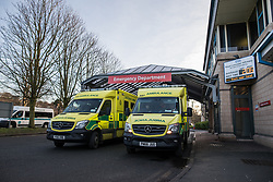 © Licensed to London News Pictures. 26/01/2018. Lancaster, UK. GV of Lancaster Royal Infirmary Accident and Emergency Department . Shadow Health Secretary Jonathan Ashworth MP and Lancaster and Fleetwood MP Cat Smith visit Lancaster Royal Infirmary and tour Accident and Emergency and the wards on a day when the A&E department at the hospital was at 100% of capacity with no spare cubicles . Labour say the NHS is in crisis in the North West with patients waiting in ambulances outside hospitals for over an hour and hospitals running out of beds. Photo credit: Joel Goodman/LNP