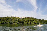 Rowing shell on Lady Bird Lake, Austin, Texas