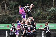 Bedwas's James Richards claims the lineout - Mandatory by-line: Craig Thomas/Replay images - 30/12/2017 - RUGBY - Sardis Road - Pontypridd, Wales - Pontypridd v Bedwas - Principality Premiership