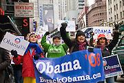 New York  Manhattan Times Square Barack Obama Rally..Fotos © Stefan Falke. Clinton / Obama Kandidatenwahl der Demokraten in den USA.New York Primary 2008