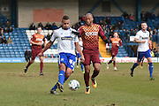 Bury Defender, Reece Brown guards the ball during the Sky Bet League 1 match between Bury and Bradford City at the JD Stadium, Bury, England on 5 March 2016. Photo by Mark Pollitt.