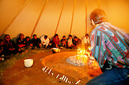 Native American Church peyote ceremony, Pine Ridge Sioux Reservation, South Dakota