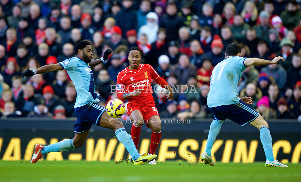 LIVERPOOL, ENGLAND - Saturday, January 31, 2015: Liverpool's Raheem Sterling in action against West Ham United during the Premier League match at Anfield. (Pic by David Rawcliffe/Propaganda)