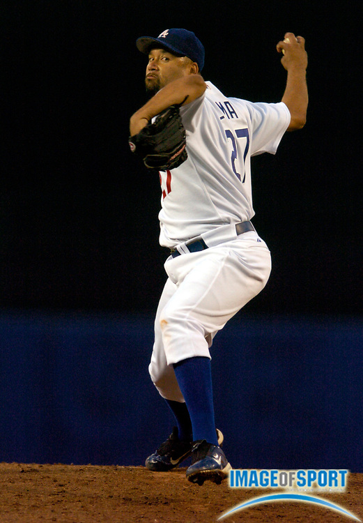 Jun 15, 2004; Los Angeles, CA, USA; Los Angeles Dodgers pitcher Jose Lima (27) pitched seven innings, allowing three hits, one run and striking out four in seven innings, during 5-1 victory over the Baltimore Orioles at Dodger Stadium.