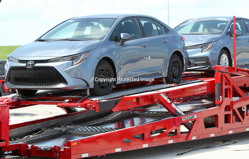 Two of the 10 Toyota Corolla's that were donated to ICC from Toyota Mississippi, sit on a hauler waiting to be delivered to their new home. The cars will be used in the college and career technology programs.