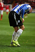 Sheffield Wednesday defender Jack Hunt sustained an injury during the match during the Sky Bet Championship match between Charlton Athletic and Sheffield Wednesday at The Valley, London, England on 7 November 2015. Photo by Matthew Redman.