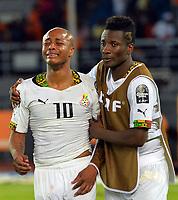 Fotball<br /> Afrika Cup / Afrikamesterskapet<br /> 08.02.2015<br /> Ghana v Elfenbenskysten<br /> Finale<br /> Foto: Panoramic/Digitalsport<br /> NORWAY ONLY<br /> <br /> Deception de Andre Ayew (GHA) avec Asamoah Gyan<br /> <br /> Ghana vs Ivory Coast - Final - CAF 2015