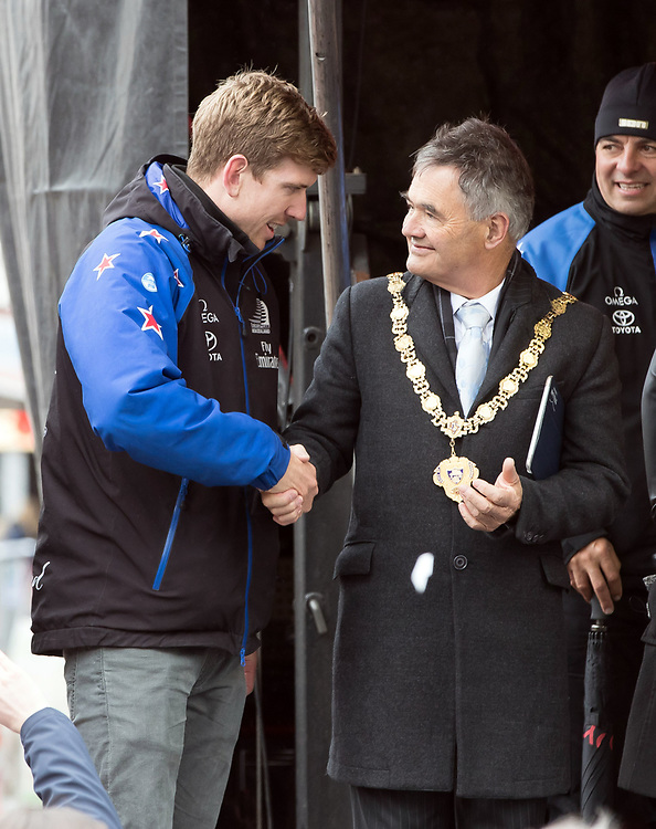 Helmsman Peter Burling, left, meets Dunedin Mayor, Dave Cull, during Emirates Team New Zealand's Americas Cup victory parade in Dunedin, New Zealand, Thursday, July 13, 2017. Credit:SNPA / Adam Binns ** NO ARCHIVING**