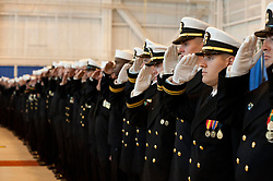 111029-N-NY820-188<br /> NORFOLK (Oct. 29, 2011) Sailors assigned to the  Virginia-class attack submarine USS California (SSN 781) salute during the commissioning ceremony for the Virginia-class attack submarine USS California (SSN 781) at Naval Station Norfolk. California is the eighth Virginia-class submarine and will be homeported in Groton, Conn. (U.S. Navy photo by Mass Communication Specialist 2nd Class Eric C. Tretter/Released)
