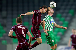 Edvin Zolic #4 of Triglav vs Nikola Nikezic #18 of Olimpija during football match between NK Olimpija Ljubljana and NK Triglav in 18th Round of PrvaLiga NZS 2012/13  on November 10, 2012 in SRC Stozice, Ljubljana, Slovenia. Real Madrid defeated Union Olimpija 89-76. (Photo By Vid Ponikvar / Sportida)