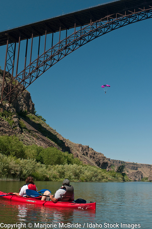 Kayaking and watching base jumping from below the Perrine Bridge on the Snake River in Twin Falls, Idaho.