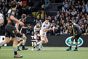 Daniel William Carter - Dan Carter (Racing 92) catched by Paul Jordaan (Stade Rochelais), Anthony Tuitavake (Racing 92) in the background, Kini Murimurivalu (Stade Rochelais) during the French Championship Top 14 Rugby Union match between Racing 92 and La Rochelle on february 18, 2018 at U Arena in Nanterre, France - Photo Stephane Allaman / ProSportsImages / DPPI