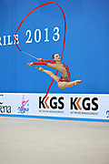 Rizatdinova Anna during final at ribbon in Pesaro World Cup at Adriatic Arena on April 28, 2013. Anna was born on July 16, 1993 in Simferopol, she is a Ukrainian individual rhythmic gymnast.