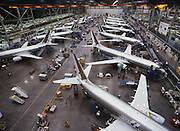 Boeing jet aircraft under construction at a Boeing plant near Seattle, Washington.