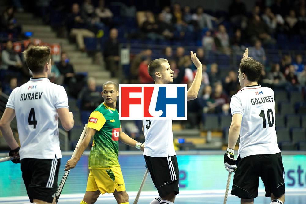 BERLIN - Indoor Hockey World Cup<br /> Men: Russia - South Africa<br /> foto: PROSKURIAKOV Mikhail and GOLUBEV Pavel.<br /> COPYRIGHT WILLEM VERNES